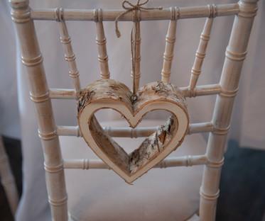 Wood Bark Hanging Heart Chair Decor