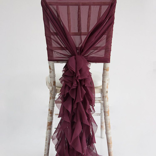 Burgundy Chiffon Hood with Ruffles