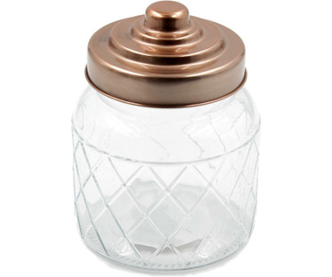 Embossed Glass Jars & Rose Gold Lid