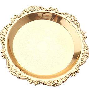 Gold Round Decorative Dessert Dish Platt