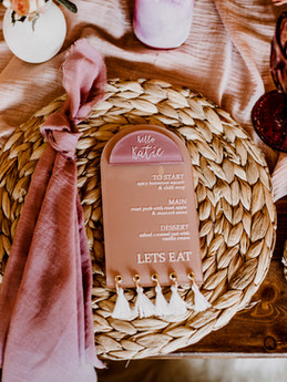 Alternative Wedding Menu Setting