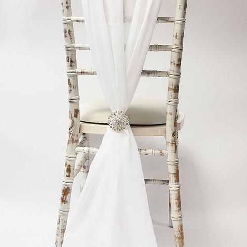 CHIFFON VERTICAL DROPS - IVORY Chair Dec