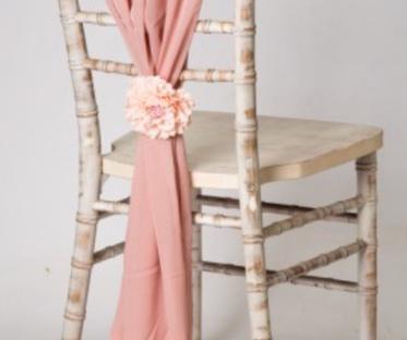Rose Gold Pink Vertical Chiffon Chair Drape