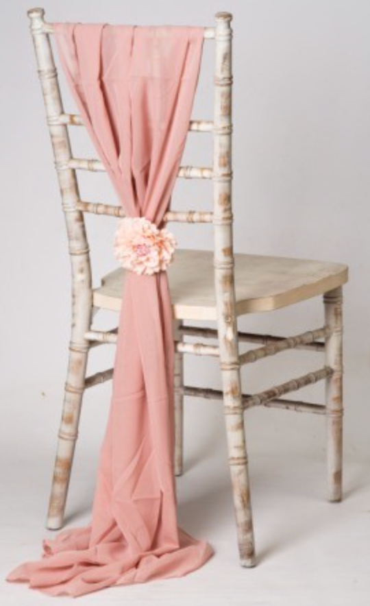 Rose Gold / Pink Chiffon Chair Cover