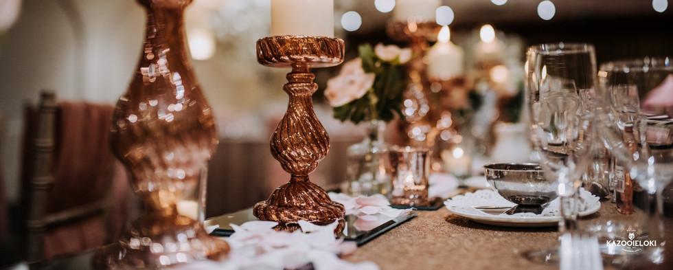 Medium Rose Gold Glass Pillar Candle Holder