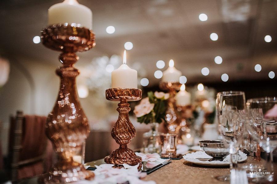 Rose Gold Wedding Decor Candle Holders