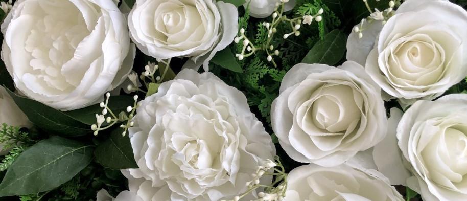 White Bloom & Greenery Flower Wall