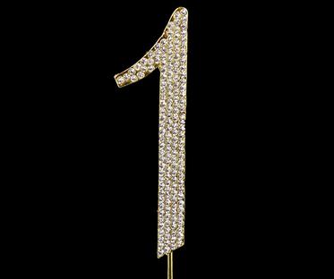 Gold Diamanté Number 1 Stand