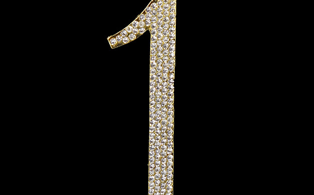 Gold Diamanté Number 1 Stand