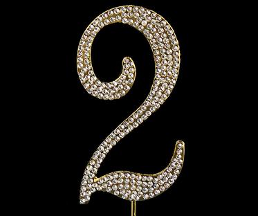 Gold Diamanté Number 2 Stand