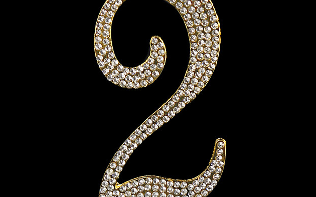 Gold Diamanté Number 2 Stand