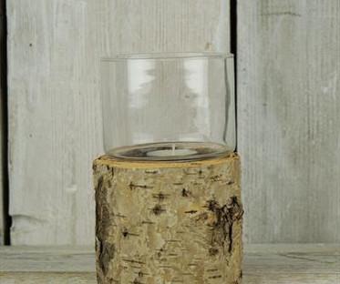 Small Bark & Glass Lantern