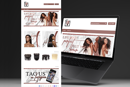 Marble Rose Gold & Glitter Shopify or Wix Theme Install