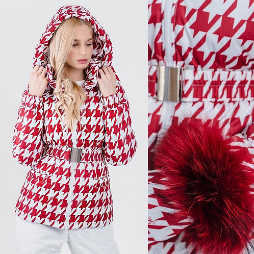 RED HOUNDSTOOTH JACKET