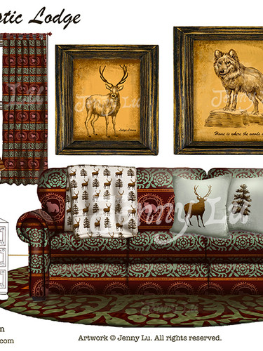 """Product Mockups for """"Rustic Lodge Art Collection"""""""