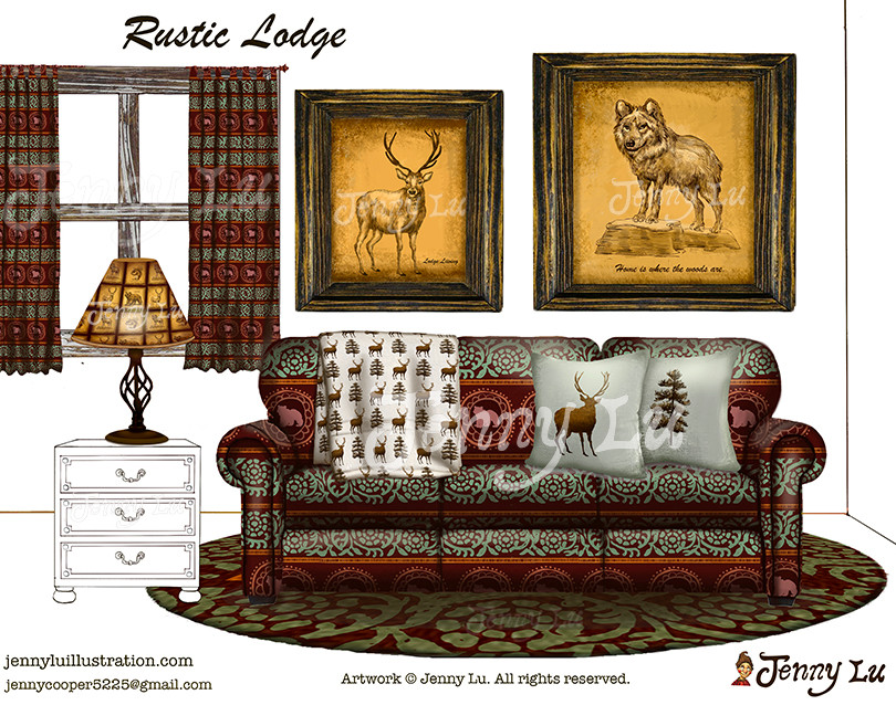 "Product Mockups for ""Rustic Lodge Art Collection"""