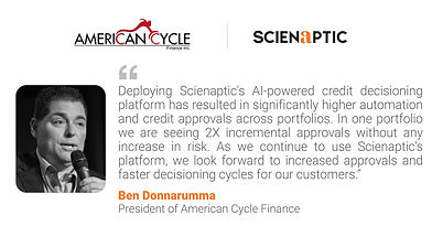American Cycle Finance Goes Live with Scienaptic's AI-Powered Credit Decisioning Platform