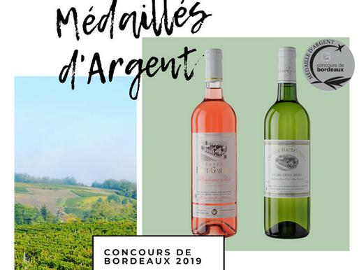 Deux médailles d'argent au concours des vins de bordeaux de 2019