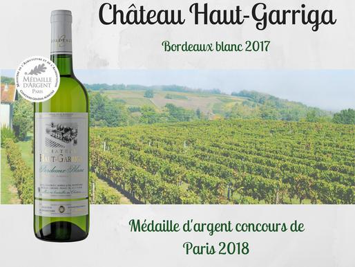 Médaille d'argent pour notre Bordeaux blanc 2017