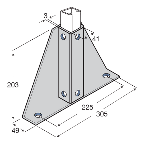 P/Base 2 Hole Single Wing Channel