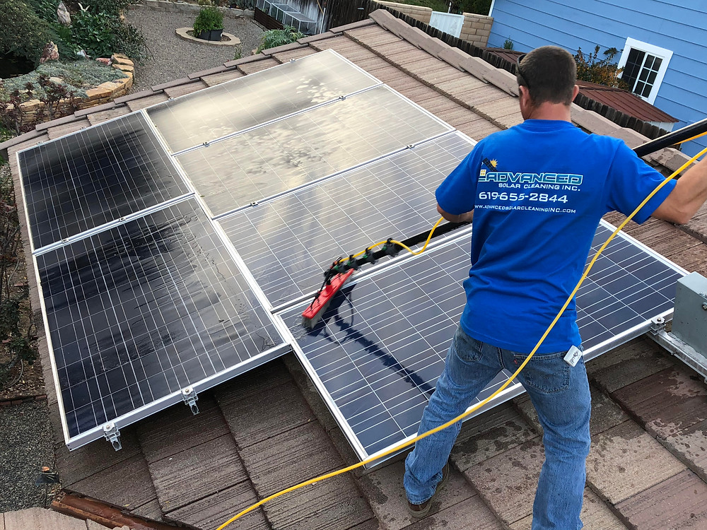 cleaning residential solar panels