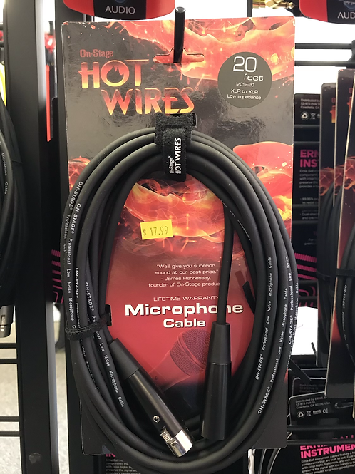 On-Stage 20ft Microphone Cable