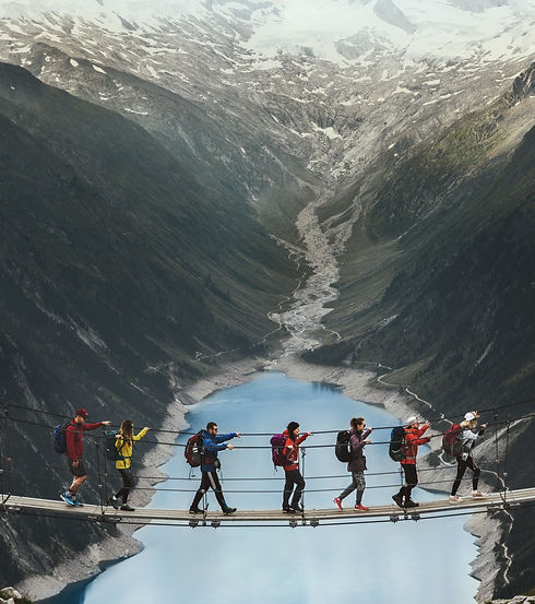 Team of travelers with a backpack in the