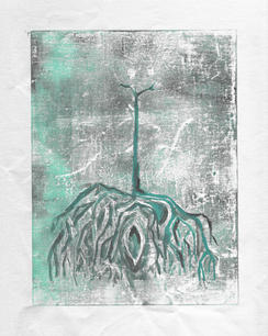 Tree with roots in Teal
