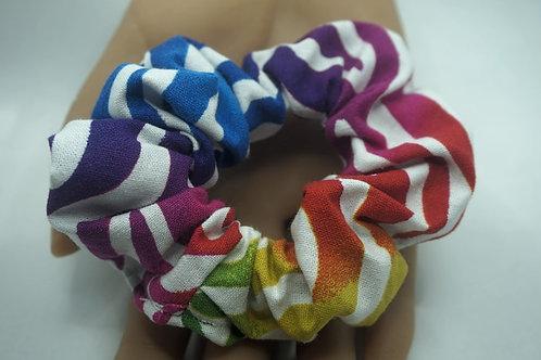 Rainbow Zebra Handmade Scrunchie