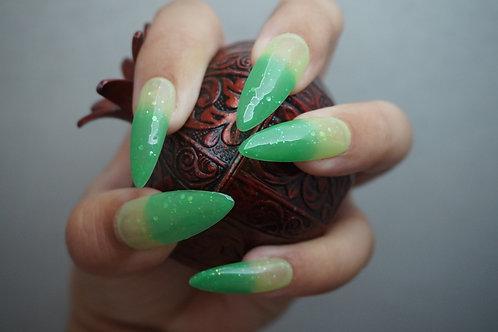 Soft Lime Green to Bold Light Green Glitter