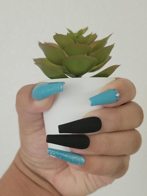 Black, Light Blue and Glitter Matte/Glossy