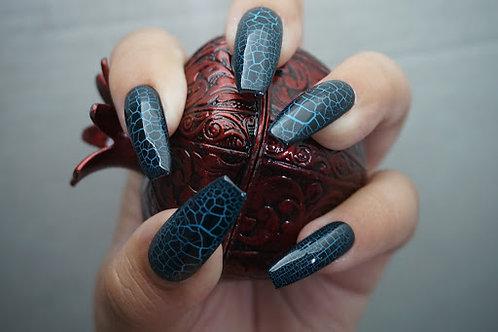 Crocodile Skin, Teal Blue and Black