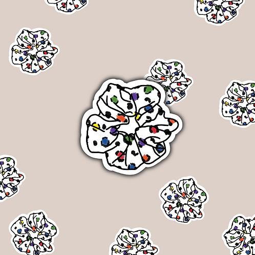 White Leopard Scrunchie Sticker