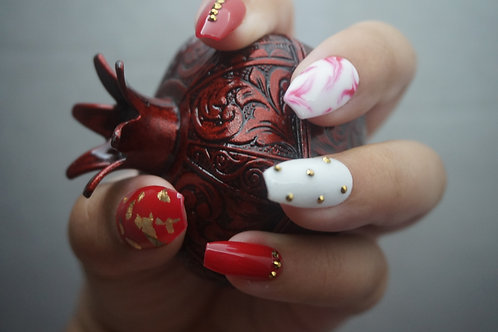 Red w/Gold Rhinestones and Marble Accent Nail