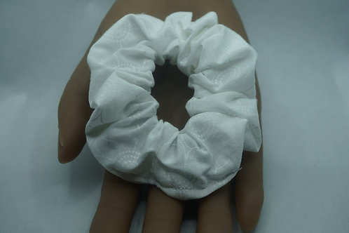 White Flowers Handmade Scrunchie