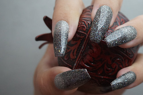 Black to White with Holographic Glitter
