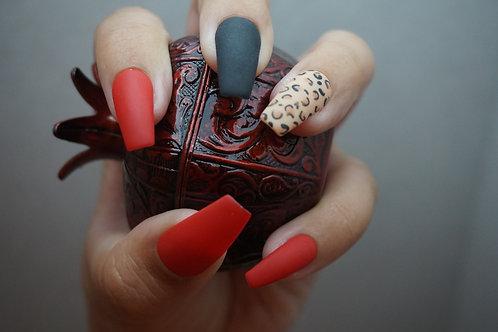 Leopard, Matte Light Brown, Black and Red