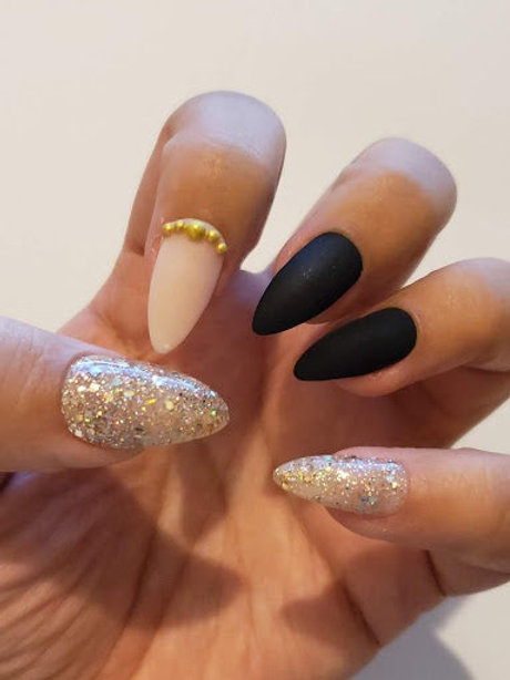 Matte Black, Light Pink, Gold Glitter