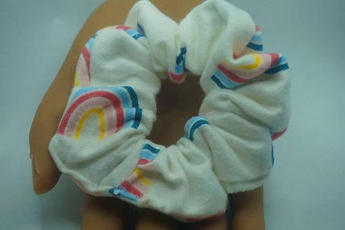 White with Rainbows Handmade Scrunchie