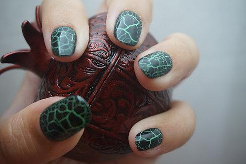 Crocodile Skin, Black and Green