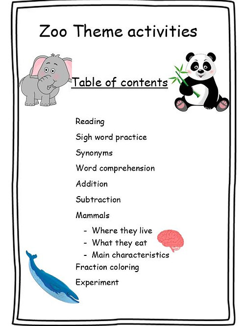 Zoo theme activities for grade 1 and 2