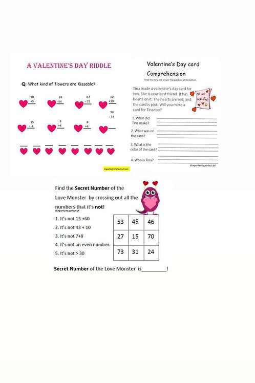 Valentines Day Bundle for Kinder and Grade 1