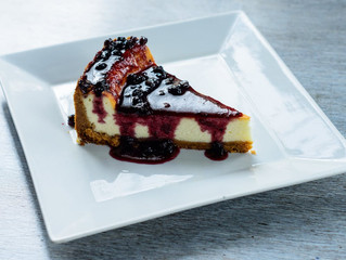 Plain cheesecake with blueberry topping