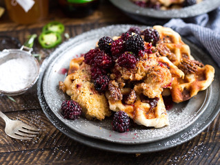 Chicken, waffles and blackberry compote