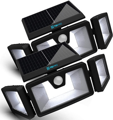 Security Solar Lights Outdoor 216 LEDs 2200LM (2 Pack)