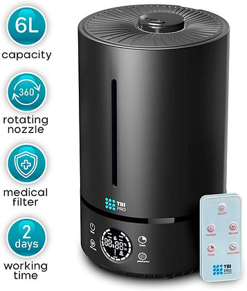 HUMIDIMASTER 6L Ultrasonic Humidifier with Top-Fill, 360° Nozzle for Home Large