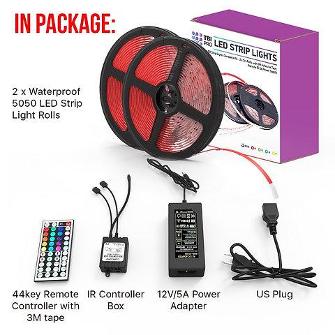 Led Strip Lights Kit 32 8ft W Extra Adhesive 3m Tape