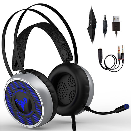 Gaming Headset for Xbox One, S, PS4, PC with LED Soft Breathing Earmuffs