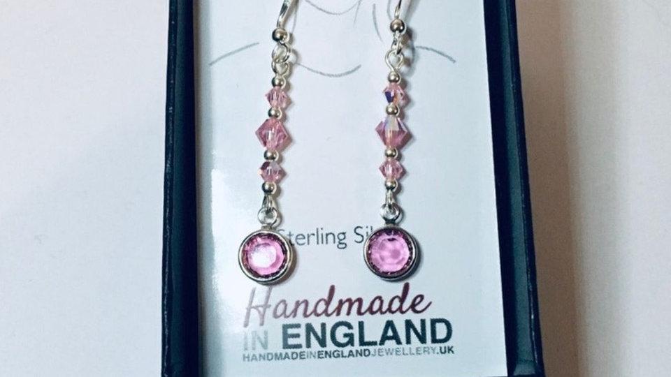 Sterling Silver Light Rose Swarovski Crystal Earrings