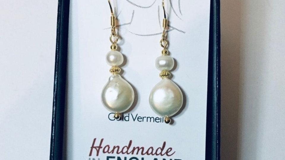 Gold Vermeil Pearl Coin Earrings